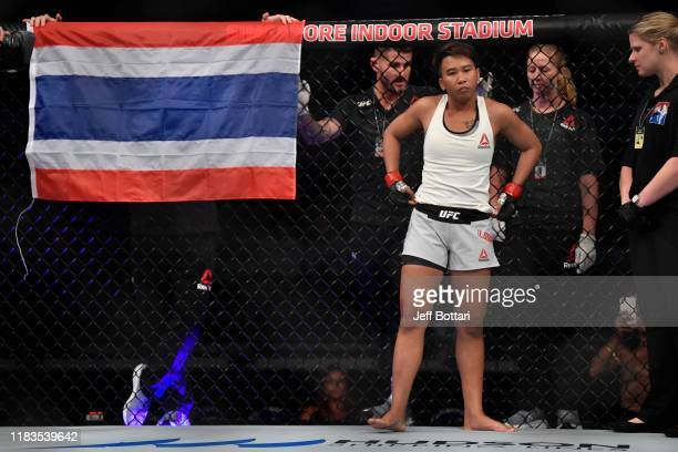 Loma Lookboonmee of Thailand stands in her corner prior to her women's strawweight bout against Alexandra Albu of Moldova during the UFC Fight Night...