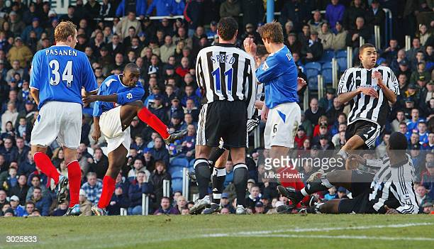 Lomana LuaLua of Portsmouth scores his goal during the FA Barclaycard Premiership match between Portsmouth and Newcastle United at Fratton Park on...