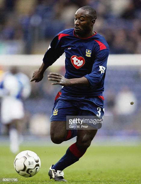 Lomana Tresor Lua Lua of Portsmouth during the FA Barclaycard Premiership match between Blackburn Rovers and Portsmouth at Ewood Park on March 27...