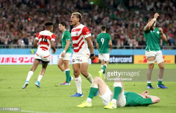 Lomano Lava Lemeki of Japan celebrates a try during the Rugby World Cup 2019 Group A game between Japan and Ireland at Shizuoka Stadium Ecopa on...