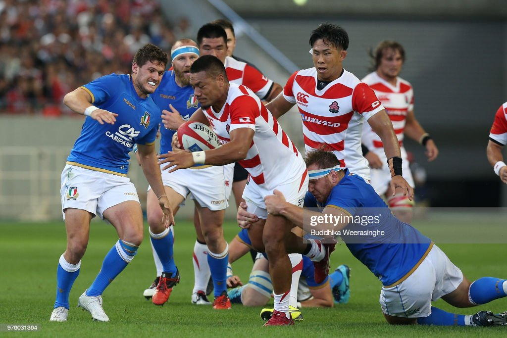Lomano Lava Lemeki of Japan makes a break during the rugby international match between Japan and Italy at Noevir Stadium Kobe on June 16, 2018 in Kobe, Hyogo, Japan.