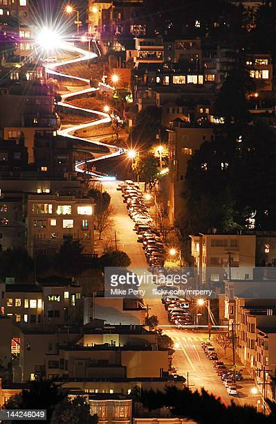 lombard lights - lombard street san francisco stock pictures, royalty-free photos & images