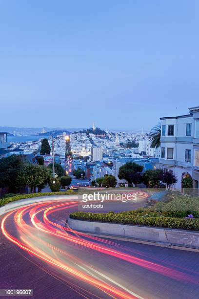 lombard street at night - lombard street san francisco stock pictures, royalty-free photos & images