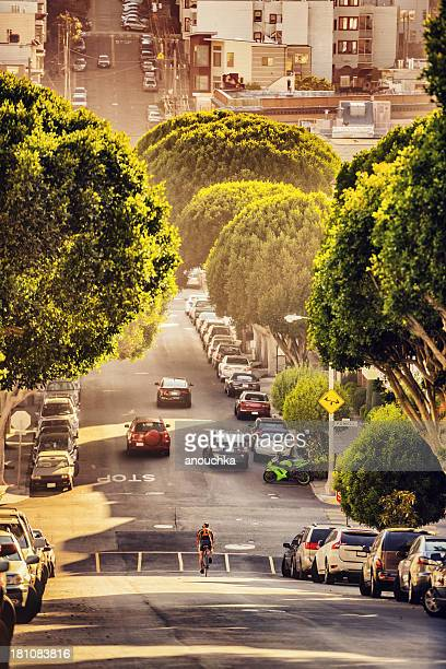 lombard street at the evening, san francisco - lombard street san francisco stock pictures, royalty-free photos & images