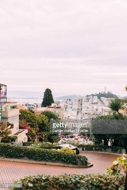 lombard street from above in san francisco, california, united states - lombard street san francisco stock pictures, royalty-free photos & images