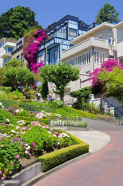 lombard street on russian hill in san francisco, ca - lombard street san francisco stock pictures, royalty-free photos & images