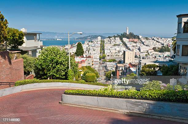 Lombard Street Telegraph Hill Coit Tower San Francisco landmarks California