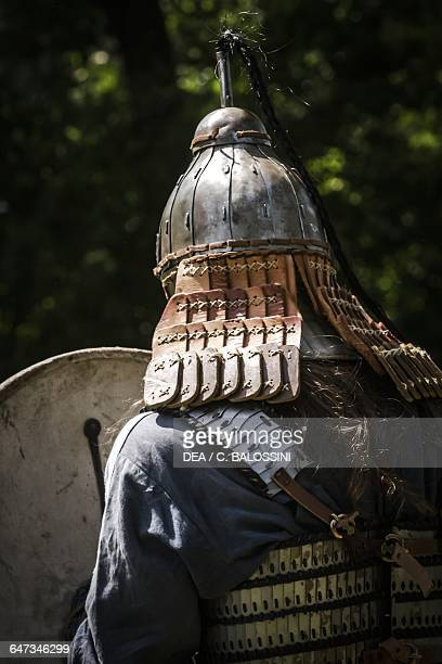 Lombard warrior with helmet armour and shield Northern Italy 6th century Historical reenactment
