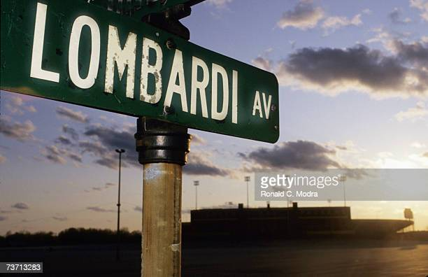 Lombardi Avenue Street sign near Lambeau Field in May 1987 in Green Bay Wisconsin