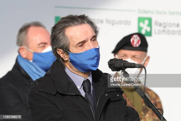 Lombardy Region President Attilio Fontana speaks to the media during the Italian Vaccine Day at the Niguarda Hospital on December 27, 2020 in Milan,...