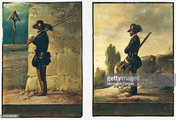 Lombardy soldiers at the Lombardy Venetia war by Girolamo Induno 19th Century watercolours