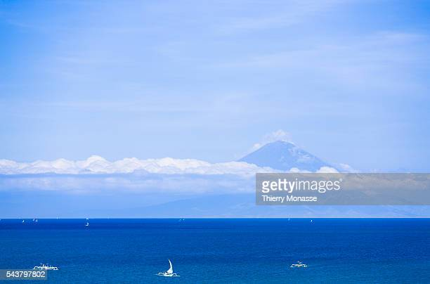 Lombok Island Indonesia December 2 2013 The mont Agung is seen from Lombok island Gunung Agung is the highest mountain in Bali The Balinese believe...
