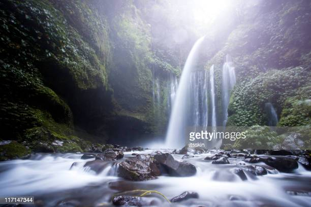 lombok waterfall - spring flowing water stock pictures, royalty-free photos & images