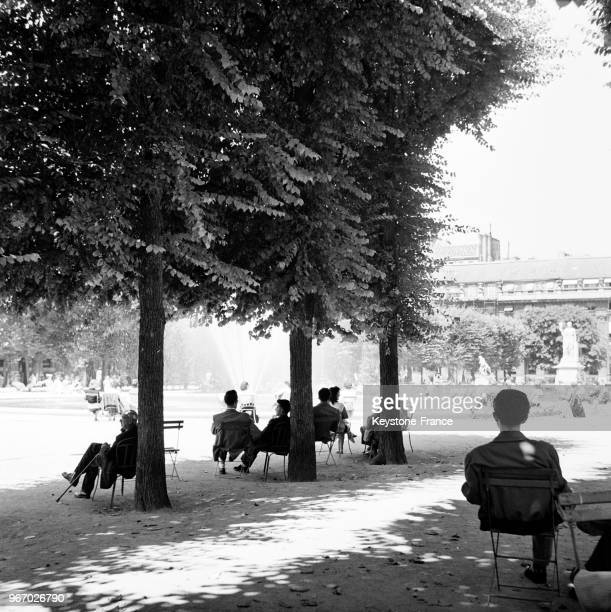 A l'ombre des arbres dans le jardin du Palais Royal à Paris France le 21 juillet 1953