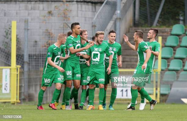 Lommel SK players celebrate after Leonardo Acevedo Guimaraes of Lommel SK scores to make it 11 during the Proximus League match between Lommel SK and...