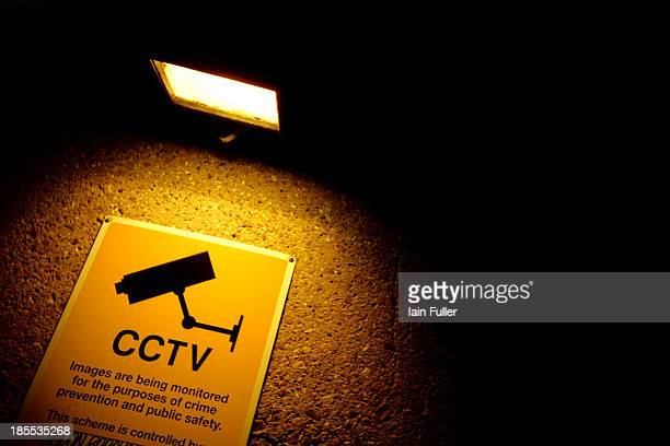 Lomo shot of a floodlit sign showing CCTV camera symbol.
