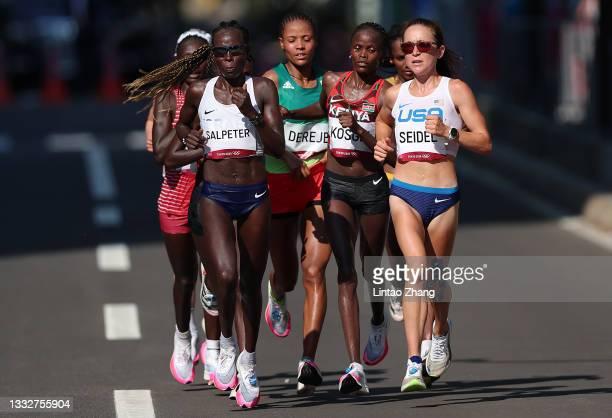 Lonah Chemtai Salpeter of Team Israel, Roza Dereje of Team Ethiopia, Brigid Kosgei of Team Kenya and Molly Seidel of Team United States competes in...