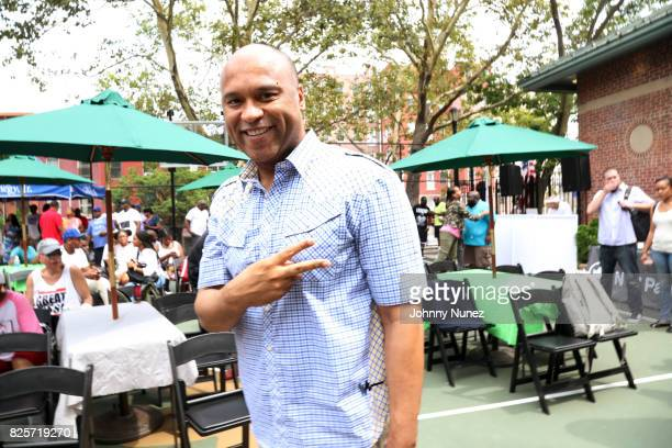 L Londell McMillan attends the ribbon cutting ceremony at Crispus Attucks Playground on August 2 2017 in the Brooklyn borough of New York City NYC...