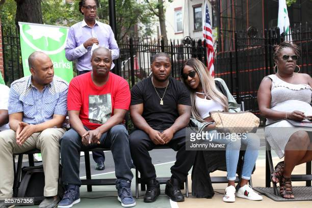 L Londell McMillan DJ Mister Cee Lil Cease T'yanna Dream Wallace and Jan Jackson attend the ribbon cutting ceremony at Crispus Attucks Playground on...