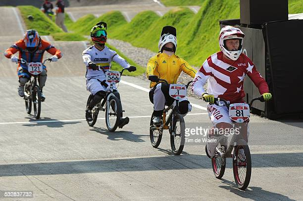Londen Olympics / BMX Cycling : Mens Final Arrival / Maris STROMBERGS Gold Medal / Sam WILLOUGHBY Silver Medal / Carlos Mario OQUENDO ZABALA Bronze...