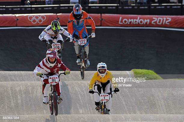 Londen Olympics / BMX Cycling : Mens Final Maris STROMBERGS Gold Medal / Sam WILLOUGHBY Silver Medal / Carlos Mario OQUENDO ZABALA Bronze Medal /...