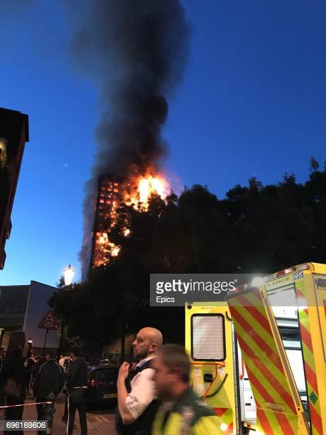 A huge fire engulfs the 24 story Grenfell Tower in Latimer Road West London as emergency services attended in the early hours of Wednesday morning...