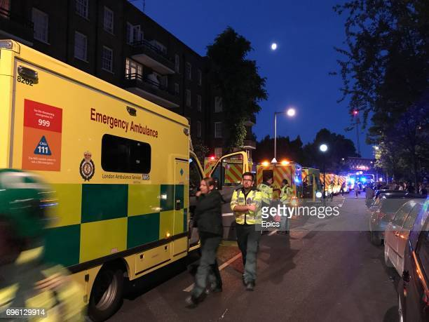 Emergency services respond to a huge fire that engulfed the 24 story Grenfell Tower in Latimer Road West London as emergency services attended in the...