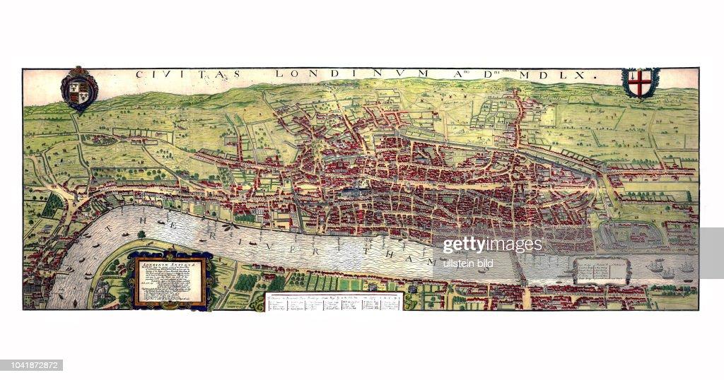 Karte London.London 1560 Londinum Antiqua Kopie Einer 1560 Entstandenen Karte