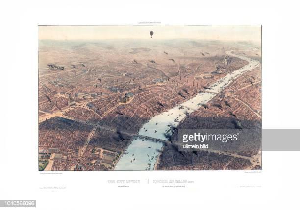 London 1896 Excursion aériennes Londres en ballon vue prise au dessus de Blackfriars bridge Von Jules Arnaut Paris/London 1896