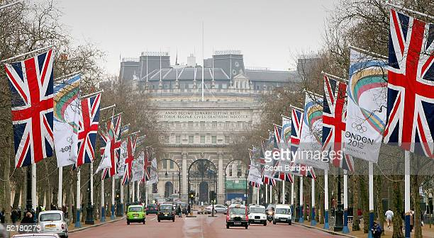 London 2012 and Union Jack flags flutter in the wind down the Mall on February 11 2005 in London England The London 2012 'Back the Bid' team...