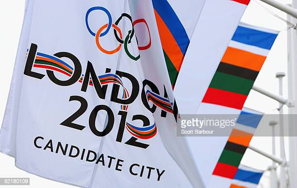 London 2012 banner flutters in the wind on February 11 2005 in London England The London 2012 'Back the Bid' team announced a partnership with the...