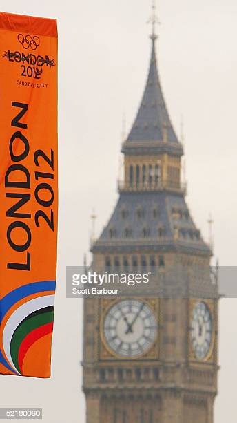 London 2012 banner flutters in the wind with Big Ben in the background on February 11 2005 in London England The London 2012 'Back the Bid' team...