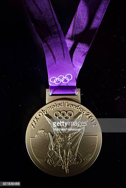 London 2012 gold medal made at the Royal Mint on display during the opening of the Royal Mint Experience on May 17 2016 in Pontyclun Wales The Royal...