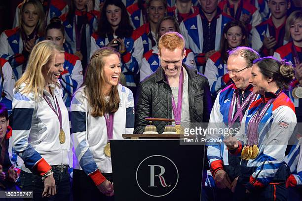 London 2012 Olympic athletes from Team GB Anna Watkins Helen Glover Greg Rutherford Barney Storey and Sarah Storey switch on the Christmas lights at...