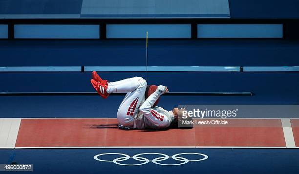 London 2012 Olympic Games Fencing Women's Individual Foil Ines Boubakri celebrates her victory over Astrid Guyart