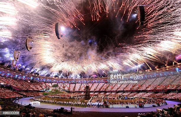 London 2012 Olympic Games OPENING CEREMONY Fireworks over the Olympic Stadium