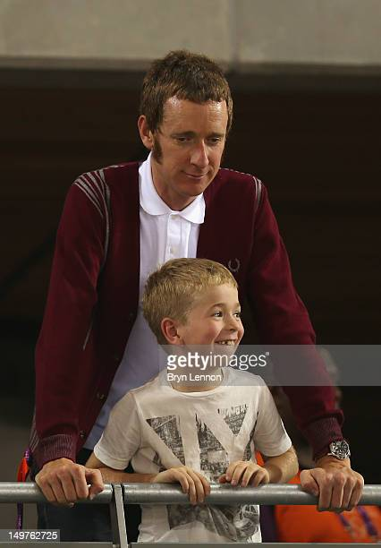 London 2012 Olympic gold medalist and 2012 Tour de France winner Bradley Wiggins of Great Britain stands with his son Ben during the track cycling on...