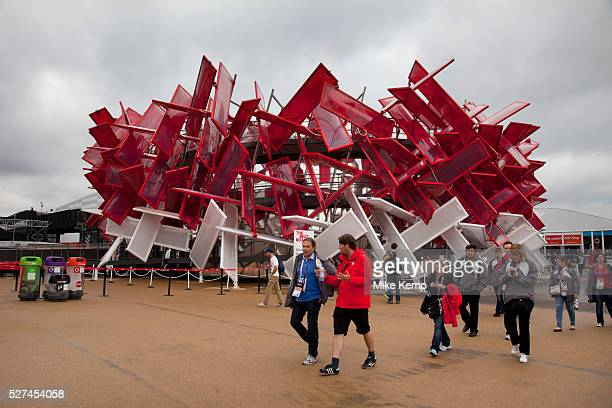 London 2012 Olympic Park in Stratford East London Coca Cola Beatbox an iconic interactive Olympic Park Pavilion that can be 'played' like an...