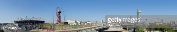 london 2012 olympic park urban regeneration panorama - 2012 summer olympics london stock photos and pictures