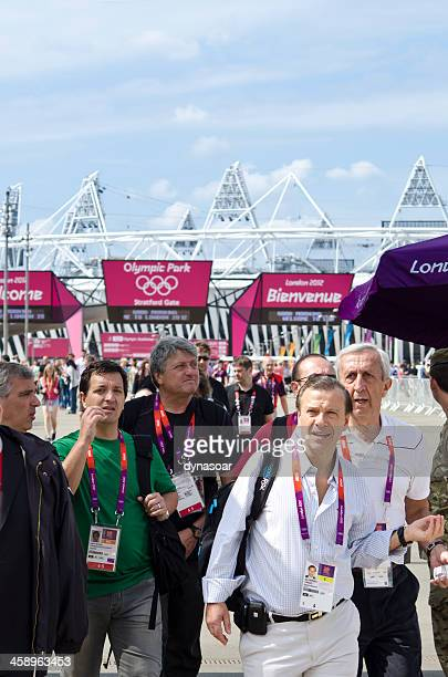 london 2012 olympics journalists leaving the park - olympic stadium stock pictures, royalty-free photos & images