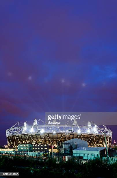 london 2012 olympics stadium opening ceremony, night shot - opening event stock pictures, royalty-free photos & images