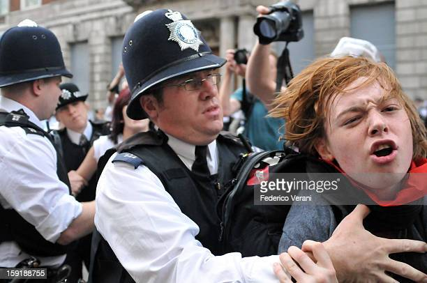 London 30 June 2011, A protester arrested during the demonstration.