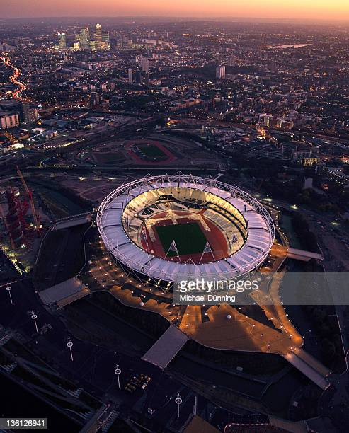 london aerial olympic stadium - olympic stadium london stock pictures, royalty-free photos & images
