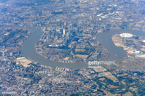 UK, London, aerial photography of the Docklands, Isle of Dogs and the River Thames