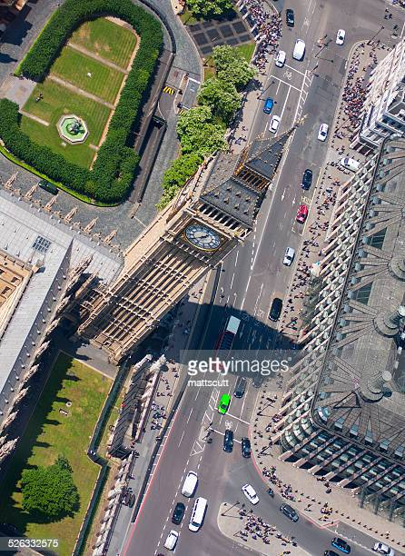 uk, london, aerial view of big ben - mattscutt stock pictures, royalty-free photos & images
