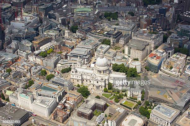 uk, london, aerial view of st pauls cathedral - mattscutt stock pictures, royalty-free photos & images