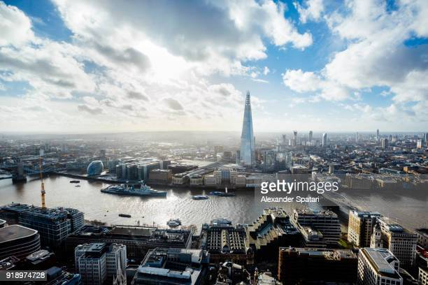 London aerial view with The Shard skyscraper, Thames river and City Hall building, England, UK