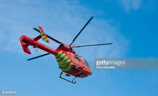 london air ambulance takes off - medevac stock photos and pictures