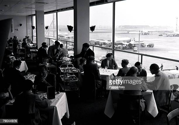 London Airport 9th June 1955 The airside restaurant that overlooks the apron where planes are refueled and passengers embark and disembark On the...