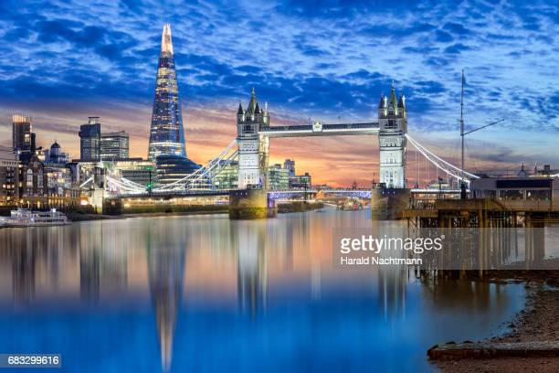 London along the river Thames at sunset